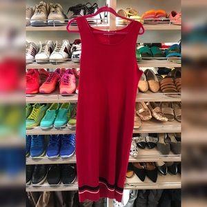 Justfab Red Ribbed Tank Dress